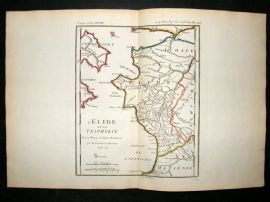Barthelemy 1790 Antique Map L'Elide et La Triphylie, Greece